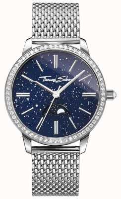 Thomas Sabo Womens Glam And Soul Moonphase Watch Silver Mesh Bracelet WA0326-201-209-33