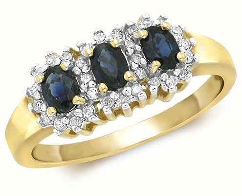 James Moore TH 9k Yellow Gold Diamond Oval Sapphire Ring RD263S