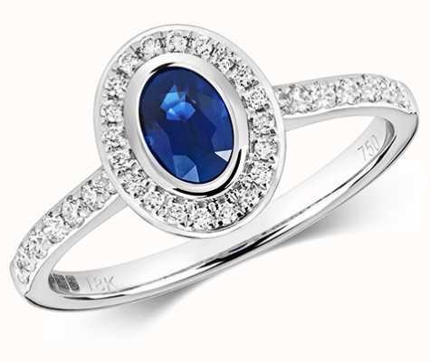 Treasure House 9k White Gold Diamond Rubover Sapphire Ring RD441WS