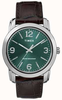 Timex Mens Classic Brown Leather Croc Strap Green Dial TW2R86900
