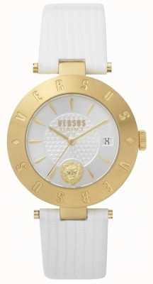 Versus Versace Womens Logo White Dial White Leather Strap SP77210018