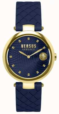 Versus Versace Womens Buffle Bay Blue Dial Blue Leather Strap SP87030018