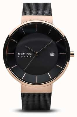Bering Mens Solar, Rose Gold Case, Black Mesh Strap 14639-166