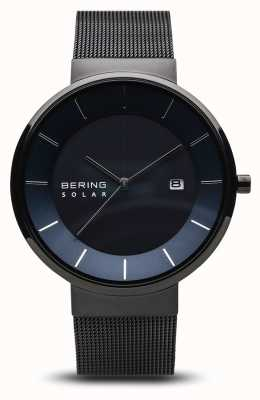 Bering Mens Solar Watch,blue Face, Black Mesh Strap 14639-227