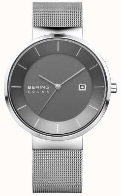 Bering Mens Solar Watch, Silver Case, Stainless Steel Mesh Strap 14639-309
