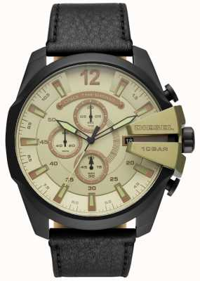 Diesel Mens Mega Chief, Black Leather Strap Watch DZ4495