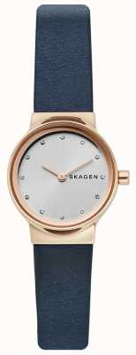 Skagen Ladies Freja Watch, Blue Leather Strap, Silver Face SKW2744