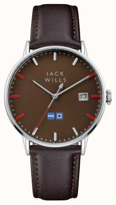Jack Wills Mens Batson Brown Dial Brown Leather Strap JW002BRBR