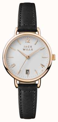 Jack Wills Womens Onslow White Dial Black Leather Strap JW006BKRS