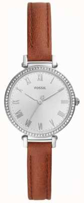 Fossil Women's Brown Leather Stainless Steel White Dial ES4446