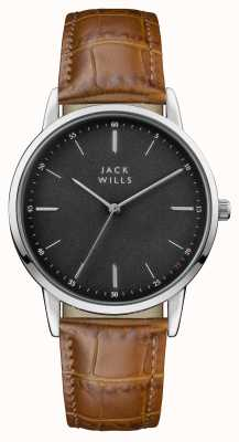 Jack Wills Mens Fortescue Black Dial Brown Leather Strap JW011BKBR
