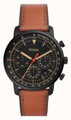 Fossil Mens Chronograph Brown Leather Stainless Steel Black Dial FS5501