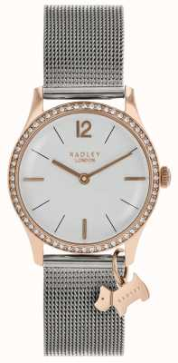 Radley Ladies Swarovski Crystals Silver White Dial RY4351