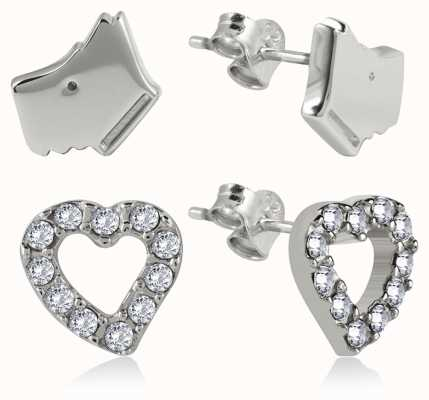 Radley Jewellery Silver Stone Set Heart & Dog Head Earrings RYJ1035