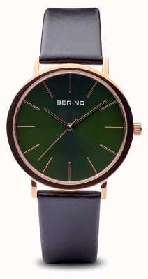 Bering Classic | Polished Rose Gold Black Strap 13436-469