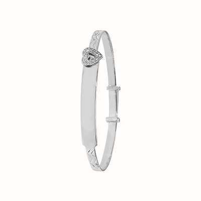 James Moore TH Silver Babies Round Cubic Zirconia Heart Id Bangle G4030