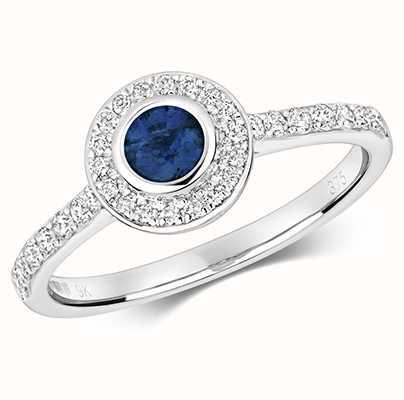 Treasure House 9k White Gold Diamond Sapphire Ring RD433WS