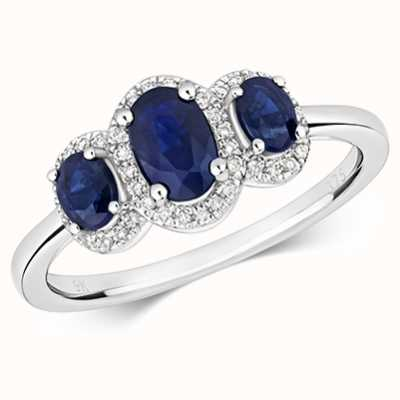 Treasure House 9k White Gold 3 Stone Sapphire Diamond Ring RD423WS