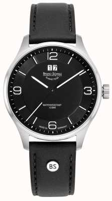 Bruno Sohnle Mens Padua | Black Dial | Black Leather Strap 17-13199-761
