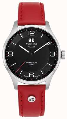 Bruno Sohnle Mens Padua | Black Dial | Red Leather Strap 17-13199-765