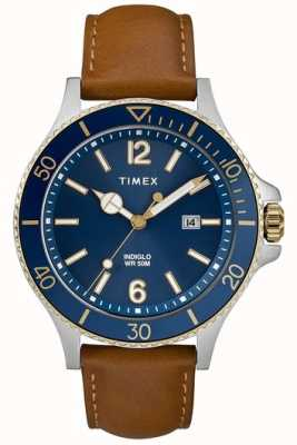 Timex | Men's | Indiglo Harborside | Blue Dial | Tan Leather | TW2R64400D7PF