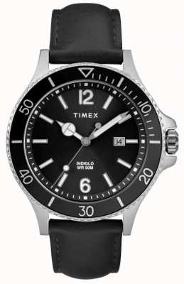 Timex | Men's | Indiglo Harborside | Black Dial | Black Leather | TW2R64400D7PF