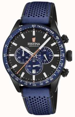 Festina Mens Chronograph Black Dial Blue Leather Strap F20359/2
