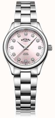 Rotary Womens Oxford Diamond Pink Dial Stainless Steel Bracelet LB05092/07/D