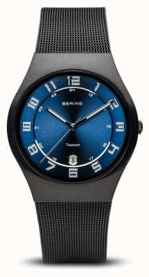 Bering Titanium | Brushed Black Blue Dial 11937-227