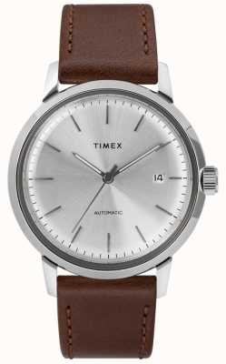Timex Mens Automatic Brown Leather Strap Silver Dial TW2T22700