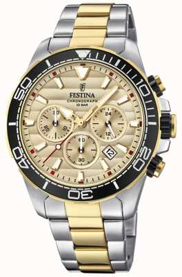 Festina Mens Two-tone Stainless Steel Chronograph Gold Dial F20363/1