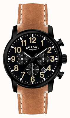 Rotary Mens Chronograph Quartz Leather Strap Black Dial GS00433/04