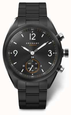 Kronaby Mens Apex 41 Bluetooth Stainless Steel Black Dial/bracelet A1000-3115