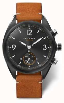 Kronaby Mens Apex 41 Bluetooth Black Dial, Brown Leather A1000-3116