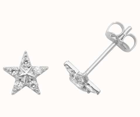 Treasure House 9k White Gold Cubic Zirconia Star Stud Earrings ES437W