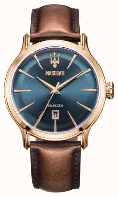 Maserati Mens Epoca 42mm | Blue Dial | Brown Leather Strap R8851118001
