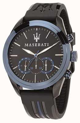 Maserati Mens Traguardo Chronograph | Blue Dial | Black Silicone R8871612006