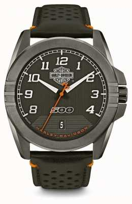 Harley Davidson Mens From The Street | Black Dial | Black Leather Strap 78B143
