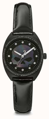 Harley Davidson Womens Crystal Willie G Skull | Black Dial | Black Leather 78L125
