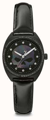 Harley Davidson Womens Crystal Willie G Skull | Black Dial | Black Leather 78L125