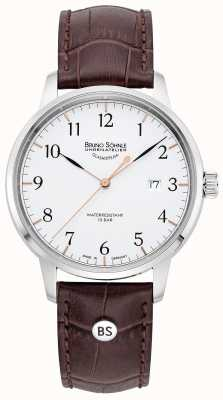 Bruno Sohnle Mens Hamburg Big | White Dial | Brown Leather Strap 17-13201-221
