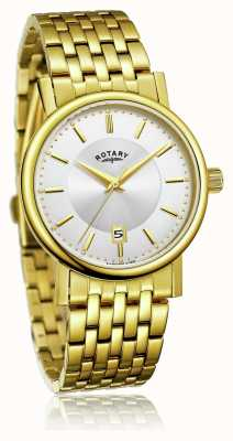Rotary Mens Slim Gold Plated Stainless Steel Bracelet | Silver Dial GB03635/03