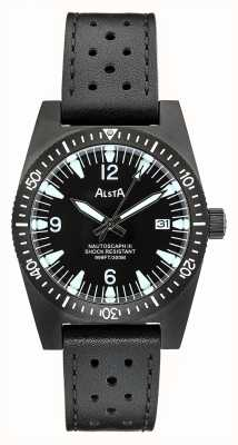 Alsta Nautoscaph III | Black Leather Strap | Black IP Case NAUTOSCAPH III