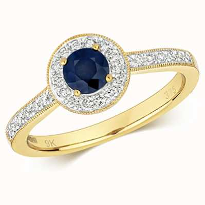 James Moore TH 9k Yellow Gold Round Sapphire Diamond Cluster Ring RD414S/L