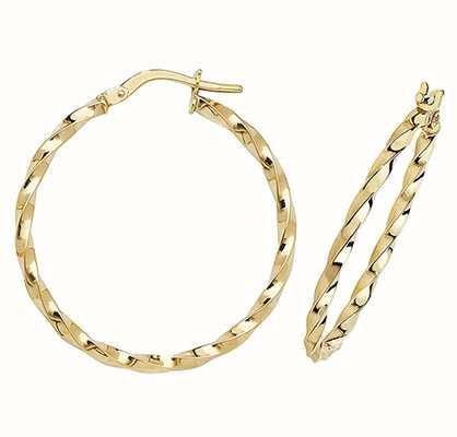Treasure House 9k Yellow Gold Hoop Earrings 25 mm ER1008-25