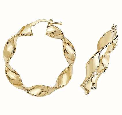 James Moore TH 9k Yellow Gold Twist Hoop Earrings 25 mm ER204N