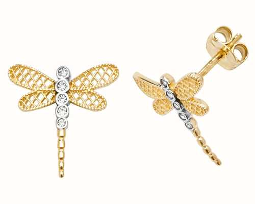 Treasure House 9k Yellow Gold Dragonfly Cubic Zirconia Stud Earrings ES602