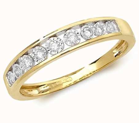 Treasure House 9k Yellow Gold Diamond Illusion Set Half Eternity Ring RD537