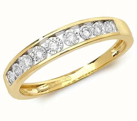 Treasure House 9k Yellow Gold Diamond Illusion Set Half Eternity Ring RD538