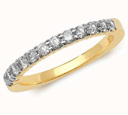 Treasure House 9k Yellow Gold Claw Set Diamond Half Eternity Ring RD555